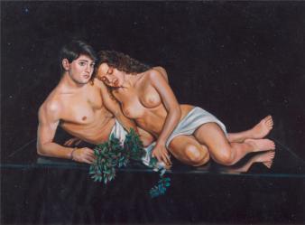 Γυμνό ζευγάρι σε γυαλί